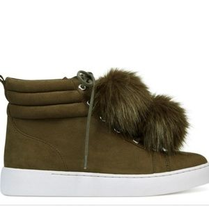 Nine west green with fur puff sneaker
